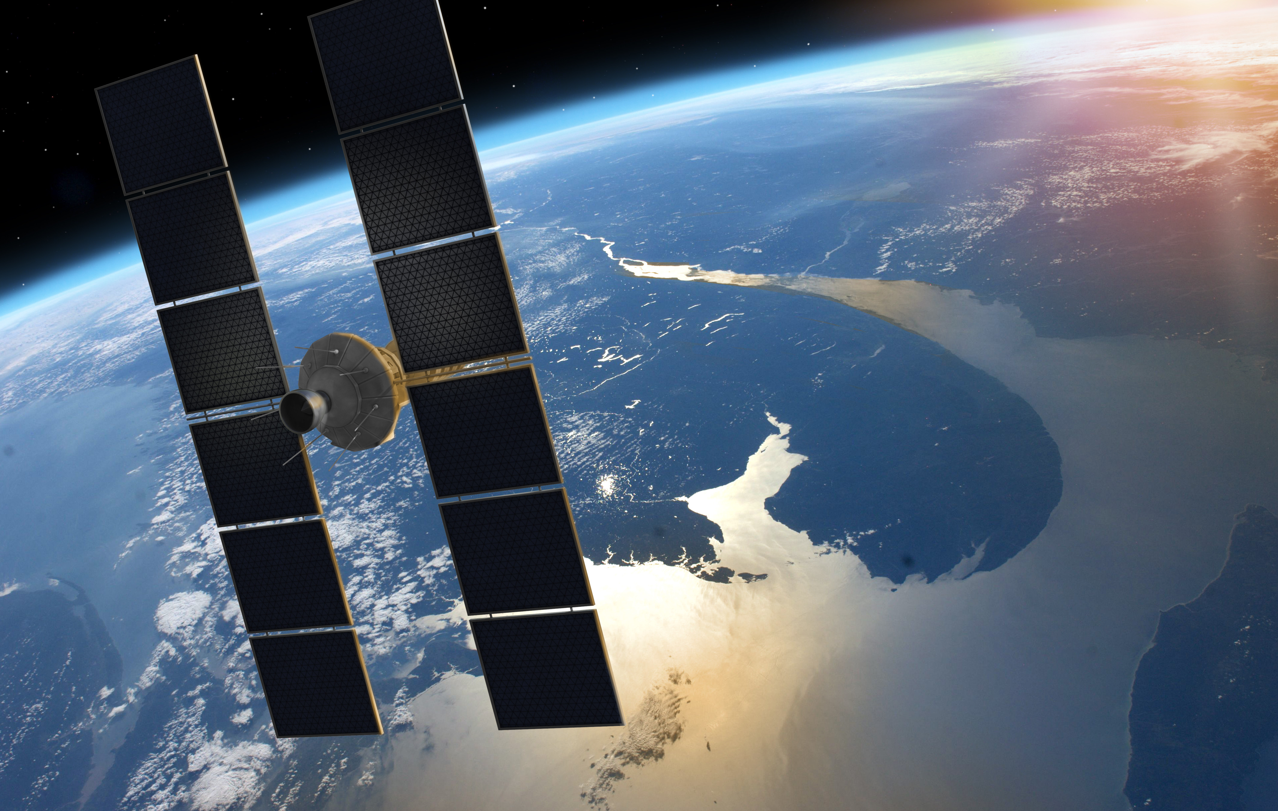 Space Satellite Orbiting Earth